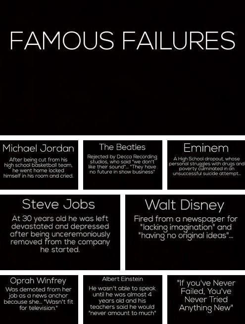 If you've never failed. You've never tried anything new.