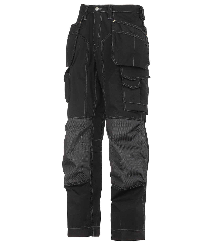 Snickers Men S Ripstop Workwear Trousers Black 36 Waist 32 Length Snickers Workwear Workwear Trousers Work Wear