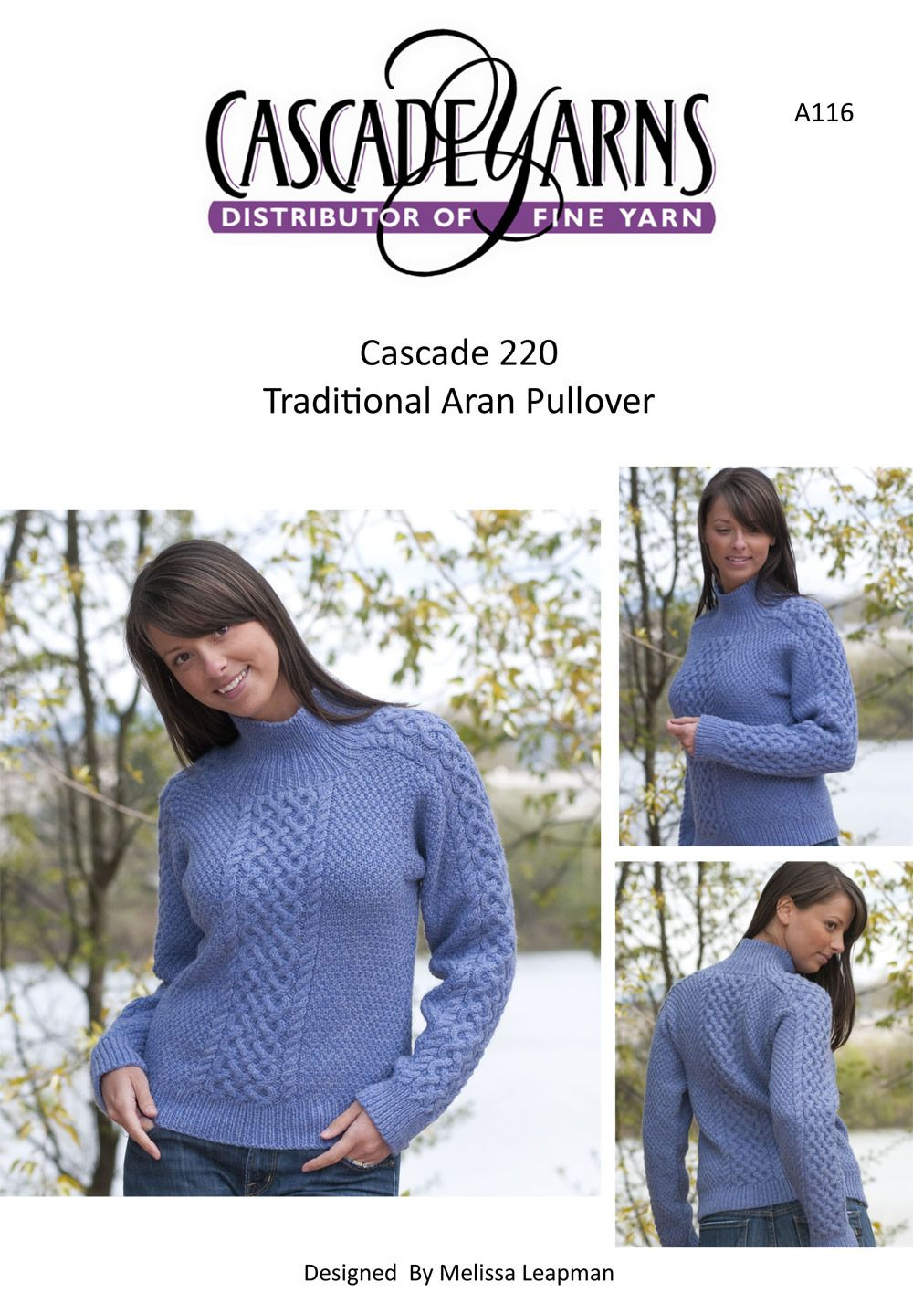 Traditional Aran Pullover in Cascade 220 - A116   Knitting Patterns ...