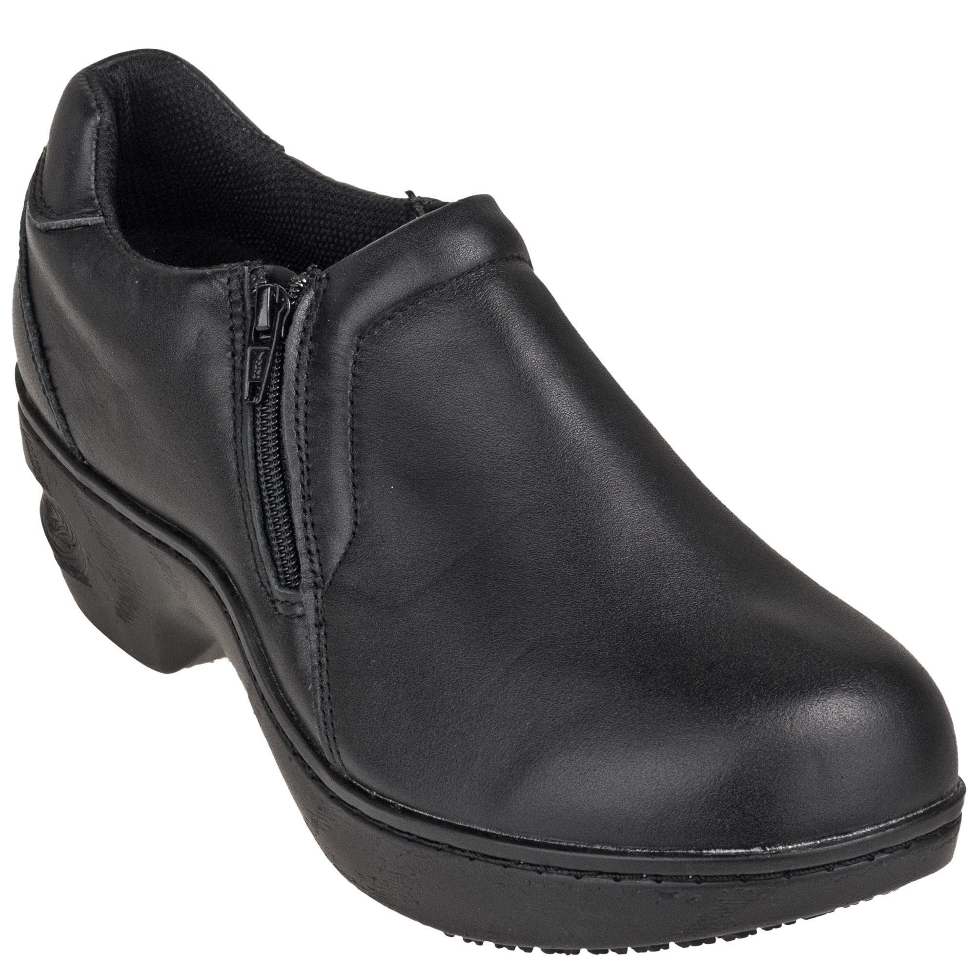 406966a4ffe5 Genuine Grip Women s 460 Black Slip-Resistant Slip-On Side Zip Shoes ...