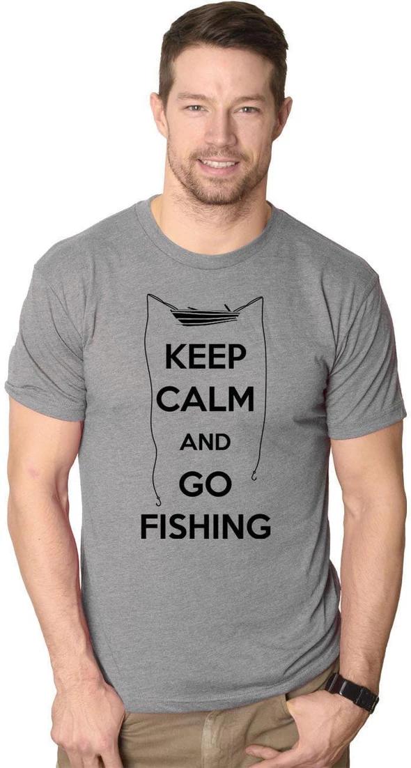 Keep Calm and Fish On Mens Short Sleeve Fishing T-Shirt