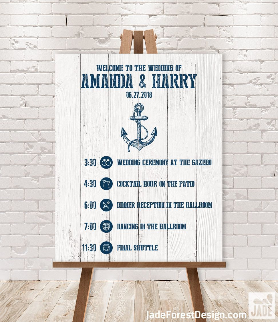 Wedding Timeline Sign  Wedding Itinerary Agenda Icons  Nautical