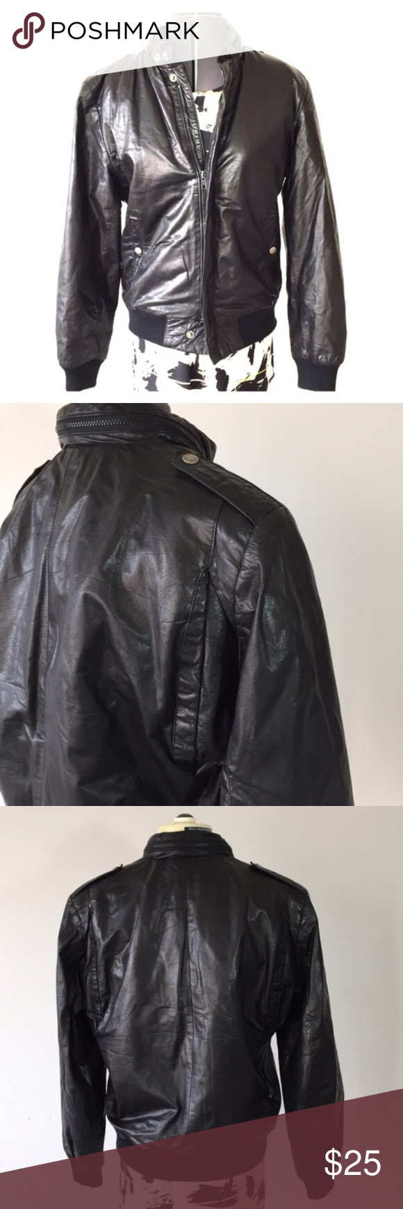 Vintage Leather Bomber Jacket Flaw Inside No Size Bomber