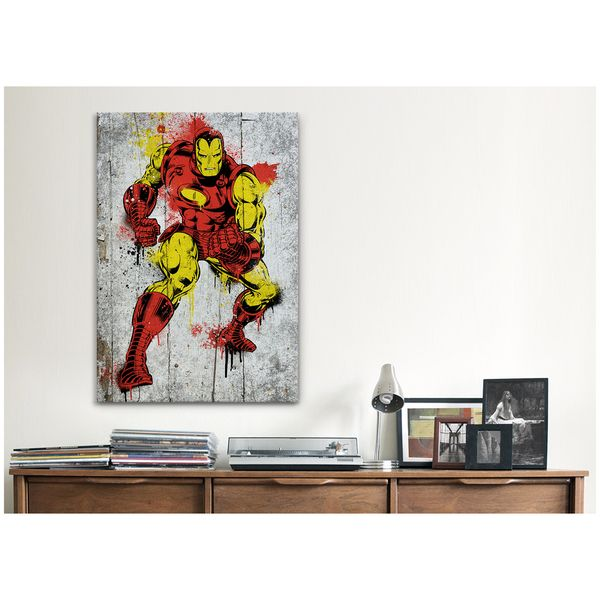 Icanvas marvel comic bookiron man spray paint b canvas print wall art overstock shopping top rated canvas