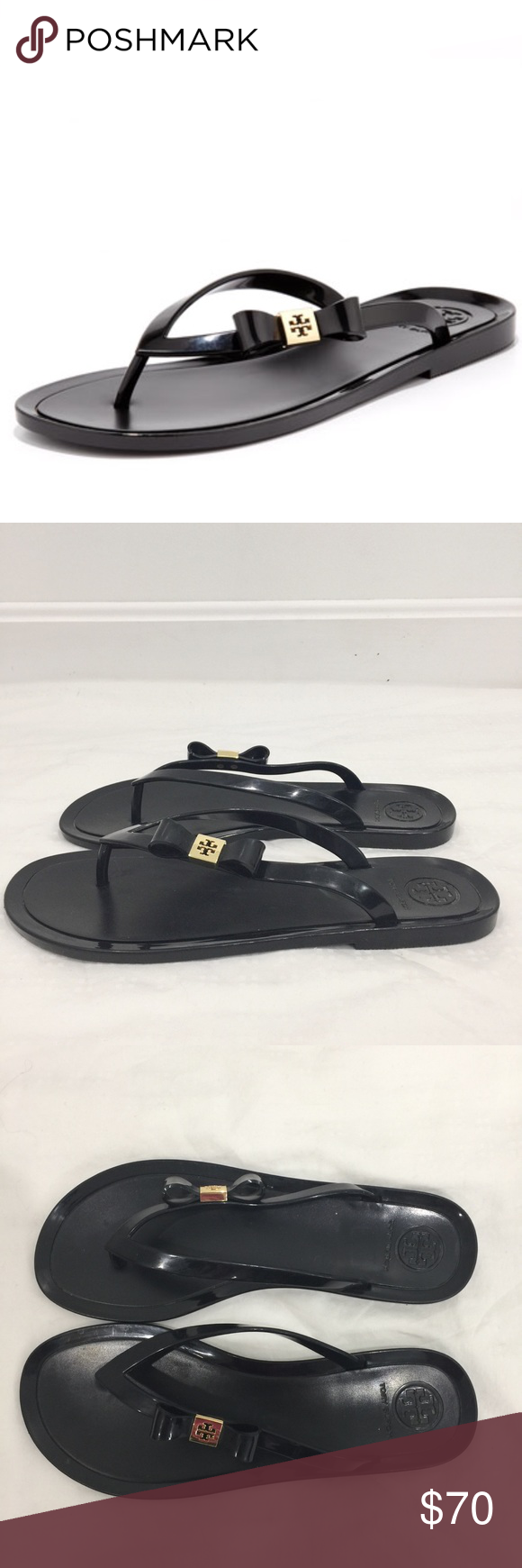 c0826b7958637b Tory Burch Black Michaela bow jelly flip flops Used good condition Some  scratches