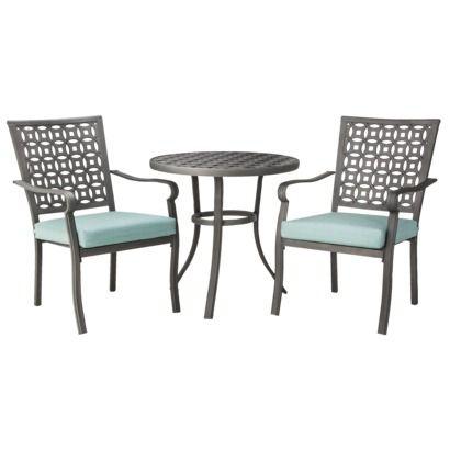 Hawthorne 3-Piece Metal Patio Bistro Furniture Set - Blue @Target ...