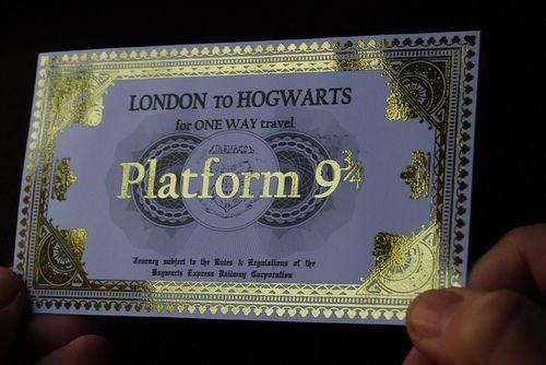 Platform Nine Three Quarters Hogwarts Express Ticket Hogwarts Express Hogwarts