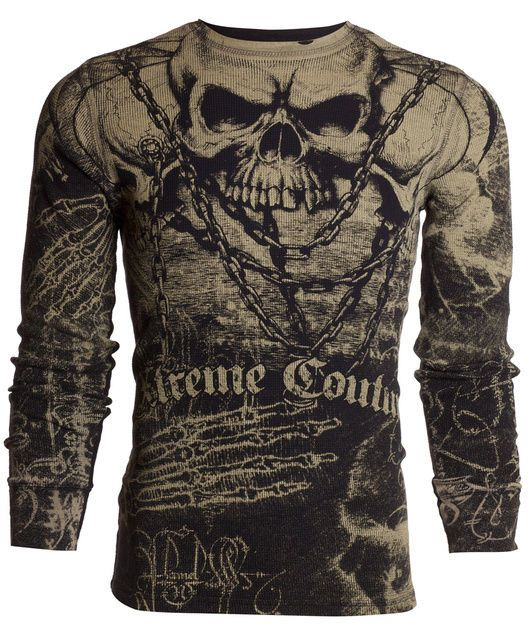 f3405b4023e3 Xtreme Couture AFFLICTION Mens THERMAL T-Shirt KILLER Tattoo Biker UFC  M-3XL $58 #Affliction #GraphicTee