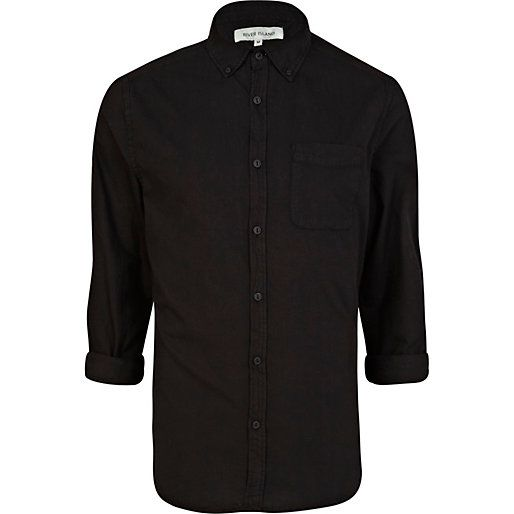 Black long sleeve Oxford shirt - shirts - sale - men | Shirts ...