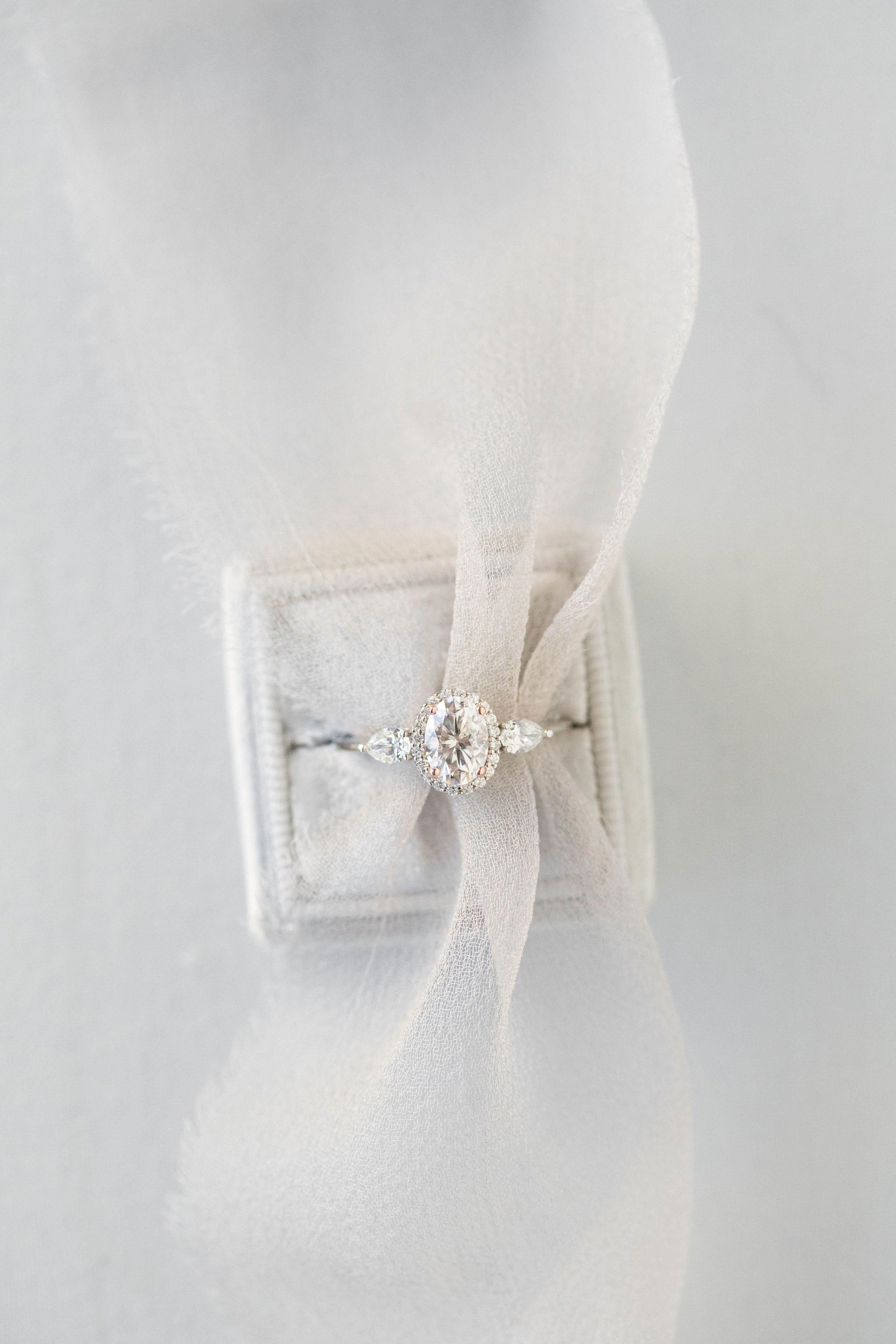 Diamond Cluster Ring Flower Unique Engagement Ring 14k Gold Mini