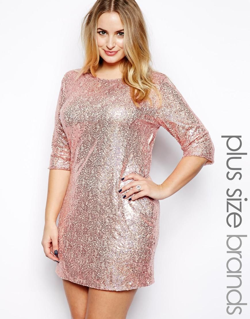 Pink sequin plus size dress