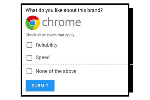 """Multiple Answers with Image- Frage mit Mehrfachantworten und Bild  In der Umfrage werden ein großes Bild und bis zu sieben Antwortoptionen gleichzeitig angezeigt, einschließlich """"Keine der Antworten"""". Die Befragten können mehrere Optionen auswählen."""