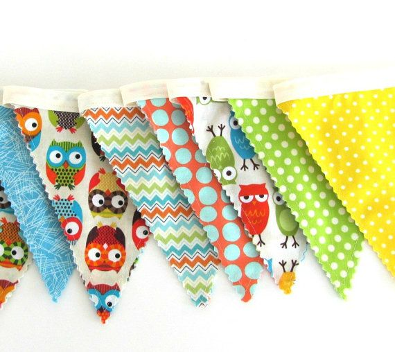 Owls Fabric Flag Bunting Children's Room Decor  by OvationStudio, $30.00