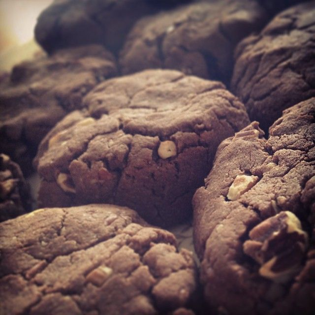 Gluten free chocolate maple pecan cookies