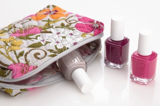 Vera Bradley Small Cosmetic in Tea Garden, paired with master plan, bahama mama, and bachelorette bash by essie