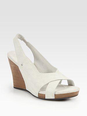 1a43a17e375 UGG Australia Hazel Suede Slingback Wedge Sandals