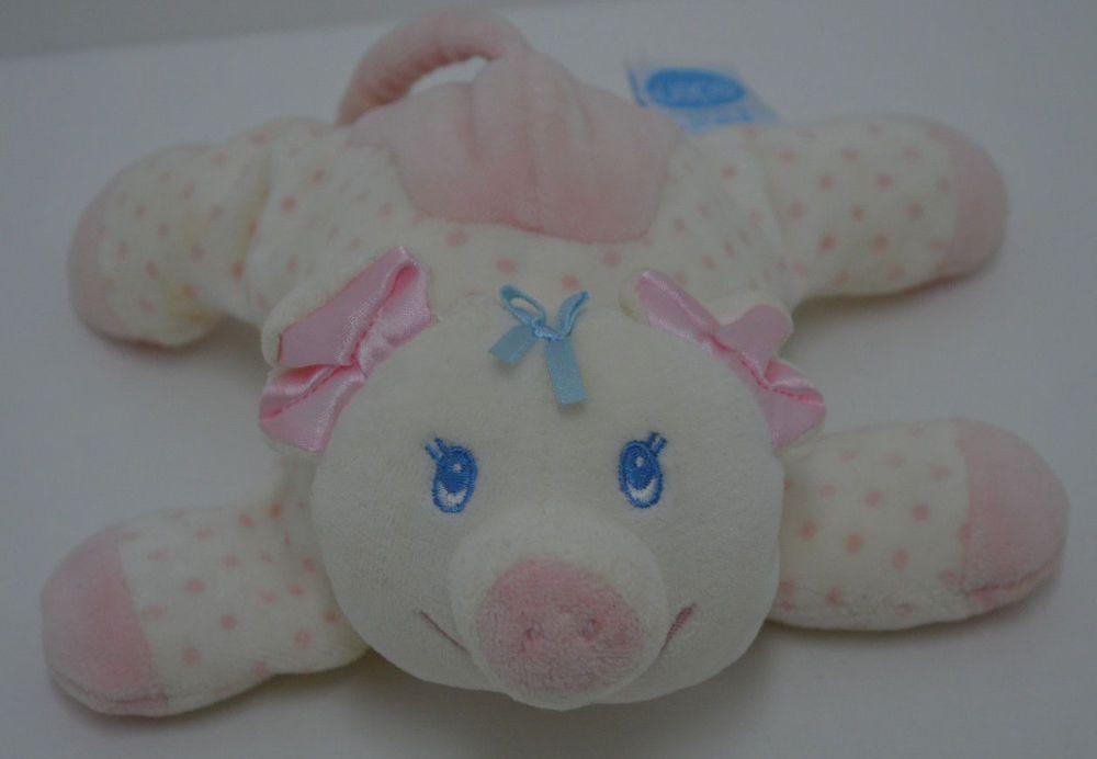 "Eden Pink Pig Rattle Plush Polks Dot Velour Blue Stitched Eyes Bow Baby Toy 6"" #Eden"