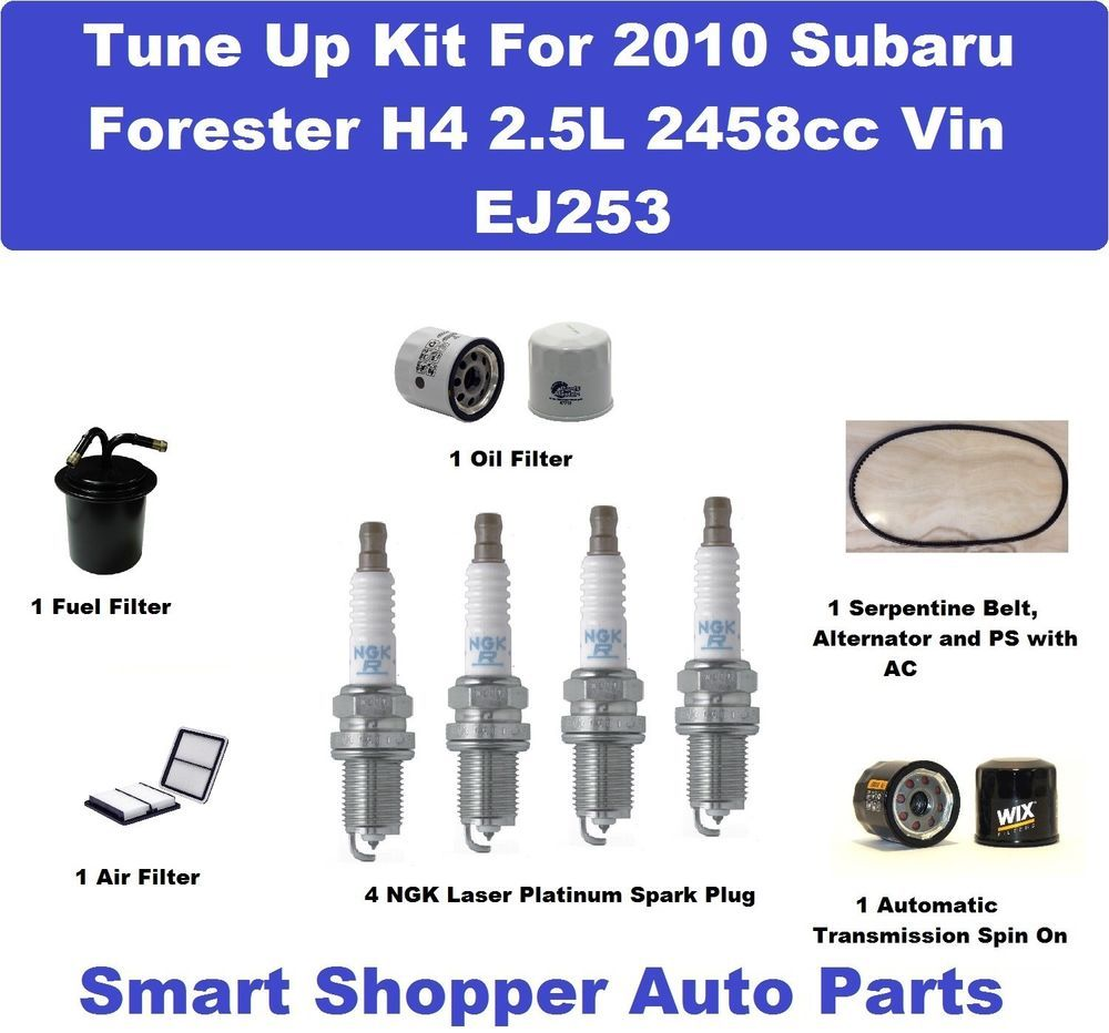 medium resolution of tune up kit 2010 subaru forester 2 5l serpentine belt spark plug oil filter