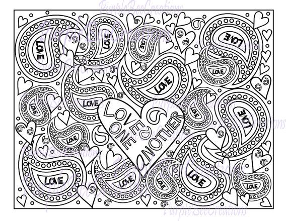 Adult coloring page love one another bible by purplebeecreations