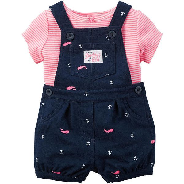 """Carter's Girls 2 Piece Navy """"Always Daddy's Girl"""" Allover Anchor and... ❤ liked on Polyvore featuring girls and kids"""