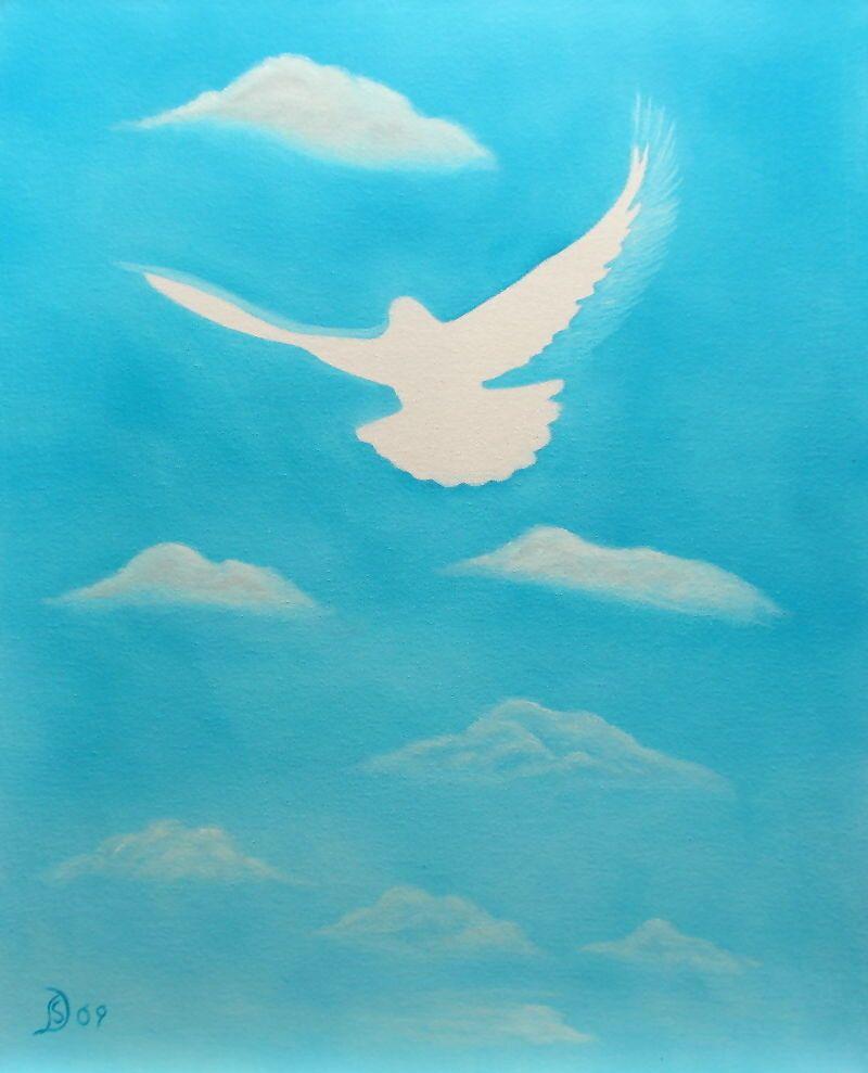 Friedenstaube  Neuware  direkt vom Künstler auf Leinwand