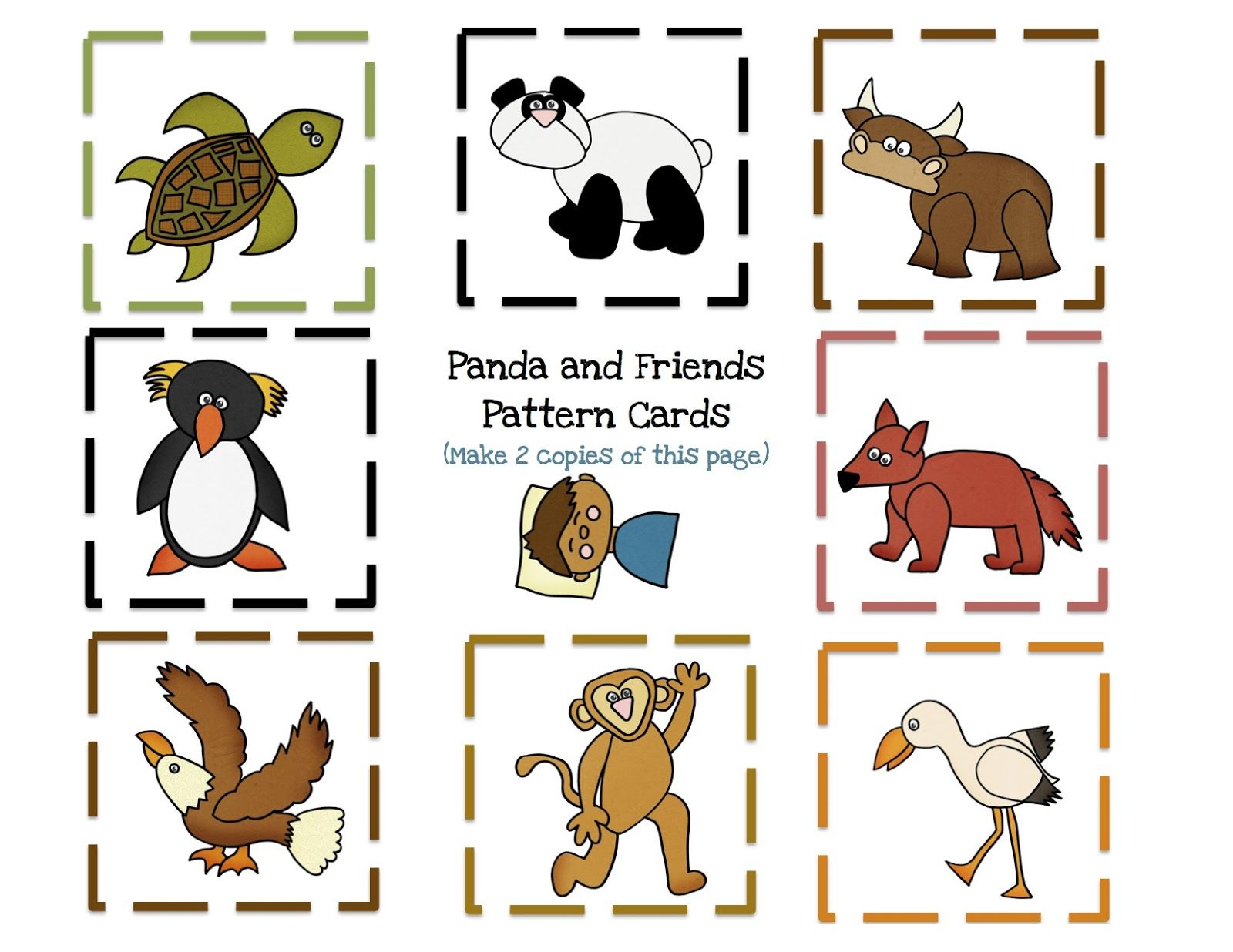 Panda Friends 8 Pattern Cards Template 1 600 1 236