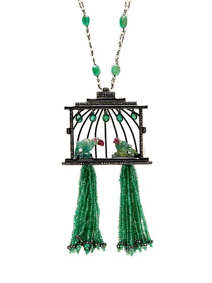 Emerald, Pearl, & Diamond Pendant Necklace by Amrapali at Gilt