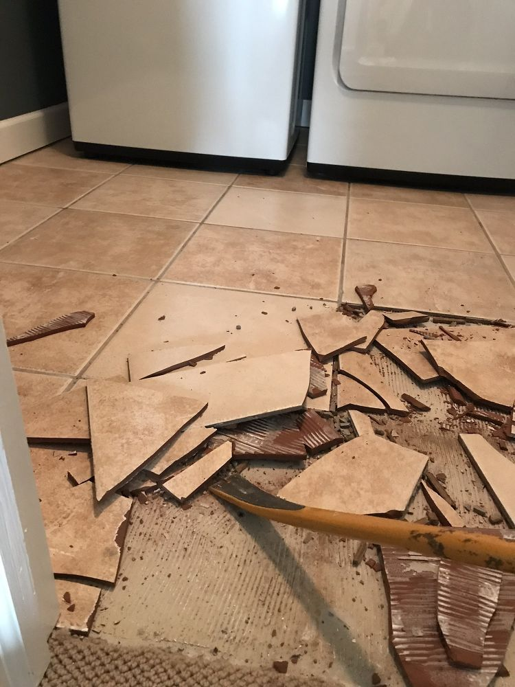 How To Remove Hideous Floor Tile For Good Diy Tile Floor Diy Tile Removal Tile Floor