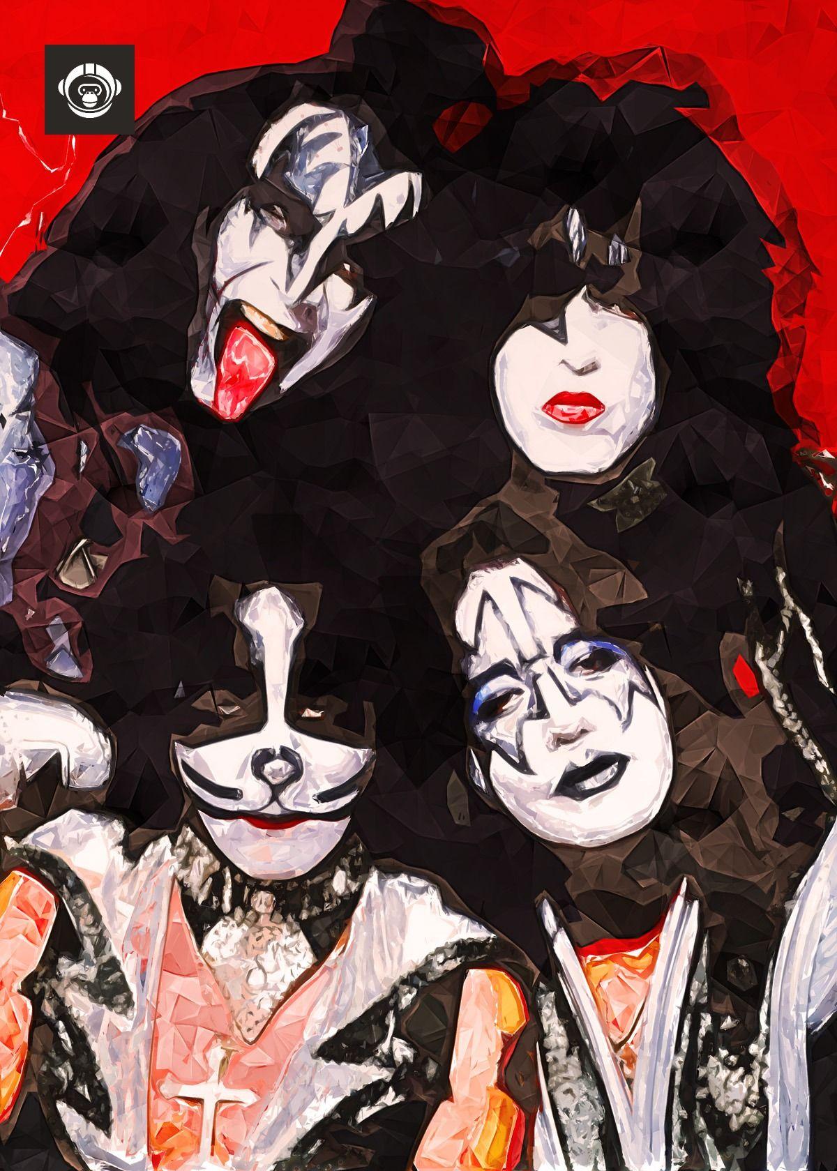 Legendary Rock N Roll Band Kiss In Digital Polygonal Painting