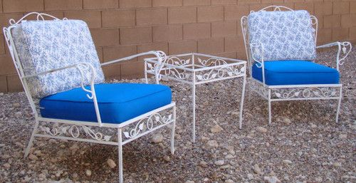 Salterini Classic 1960\'s Complete Wrought Iron Patio Furniture Set 9 ...