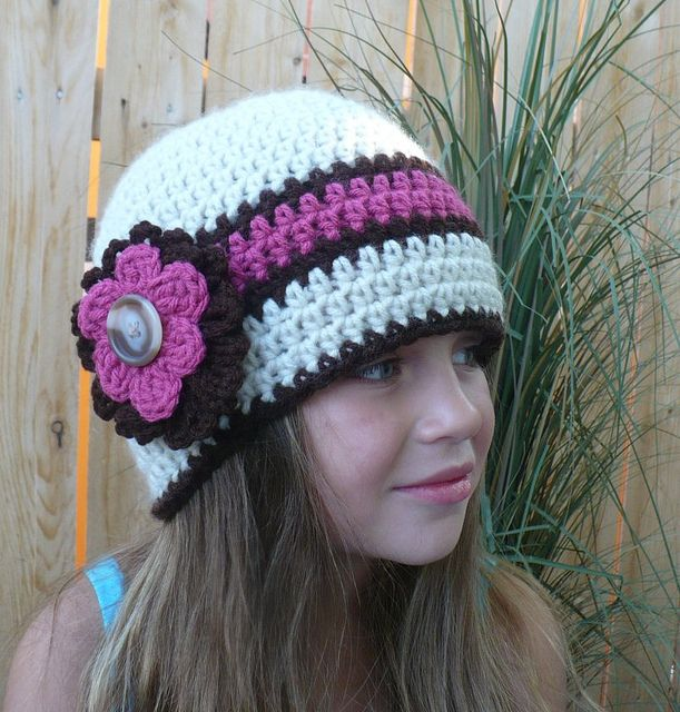 Rosey Posey Crochet Hat Beanie style   Gorros y Chicas