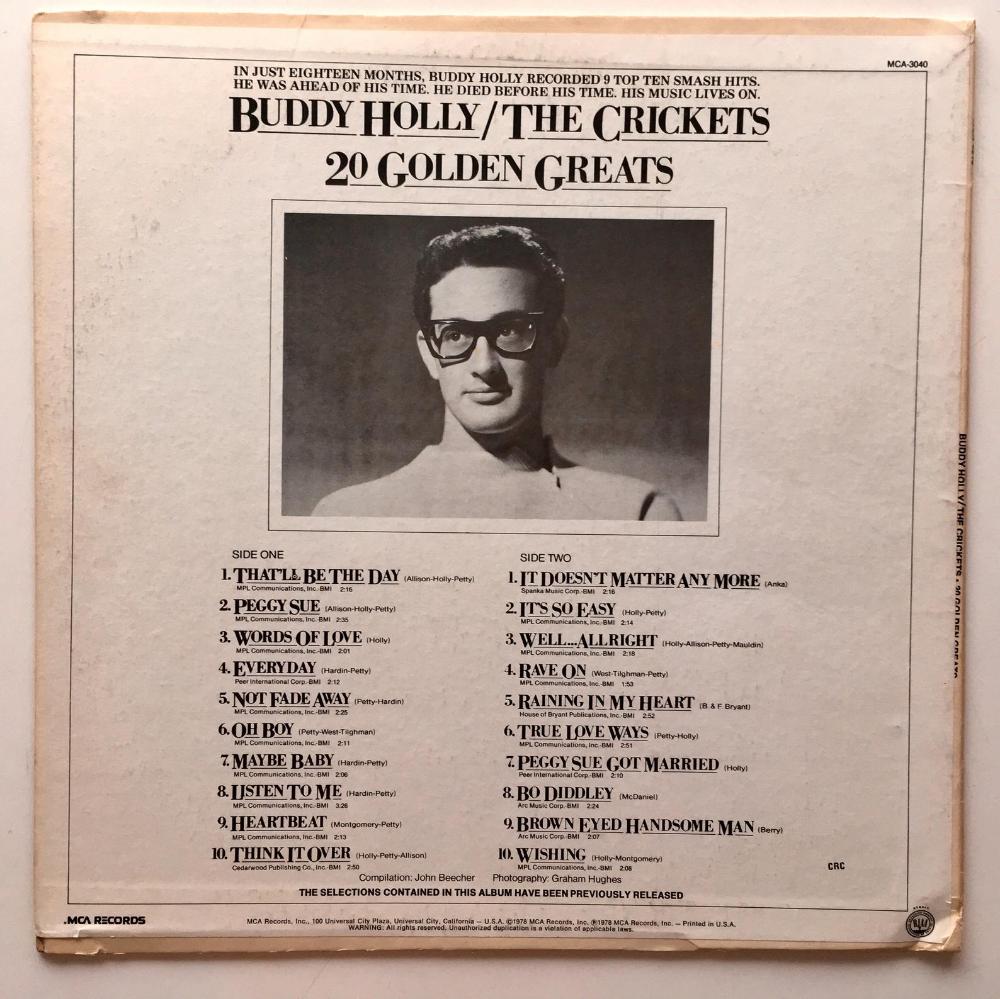 Buddy Holly The Crickets 20 Golden Greats Lp Vinyl Record Etsy In 2020 Buddy Holly Vinyl Records Vinyl Record Album