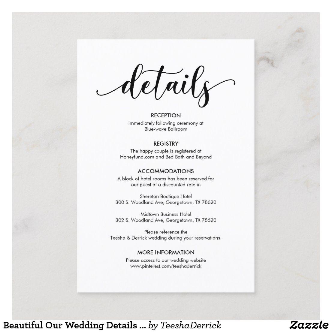 Beautiful Our Wedding Details Modern Rustic Black Enclosure Card Zazzle Com Wedding Invitation Details Card Wedding Website Examples Wedding Invitation Wording Examples