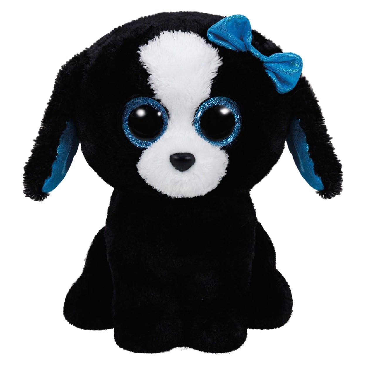 Ty Beanie Buddy knuffel genaamd Tracey. Dit hondje heeft een blauwe  glimmende strik op haar hoofdje 1b0b14008706