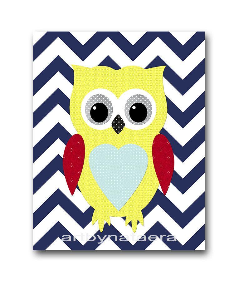 Navy Blue Red Yellow Owl Decor for Nursery Digital Wall Art Baby Boy ...