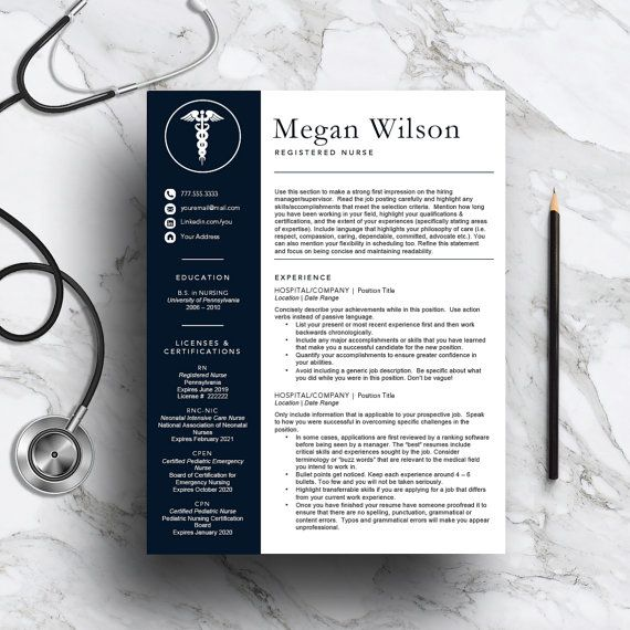 Nurse Resume Template For Word  Pages  And  Page Resume