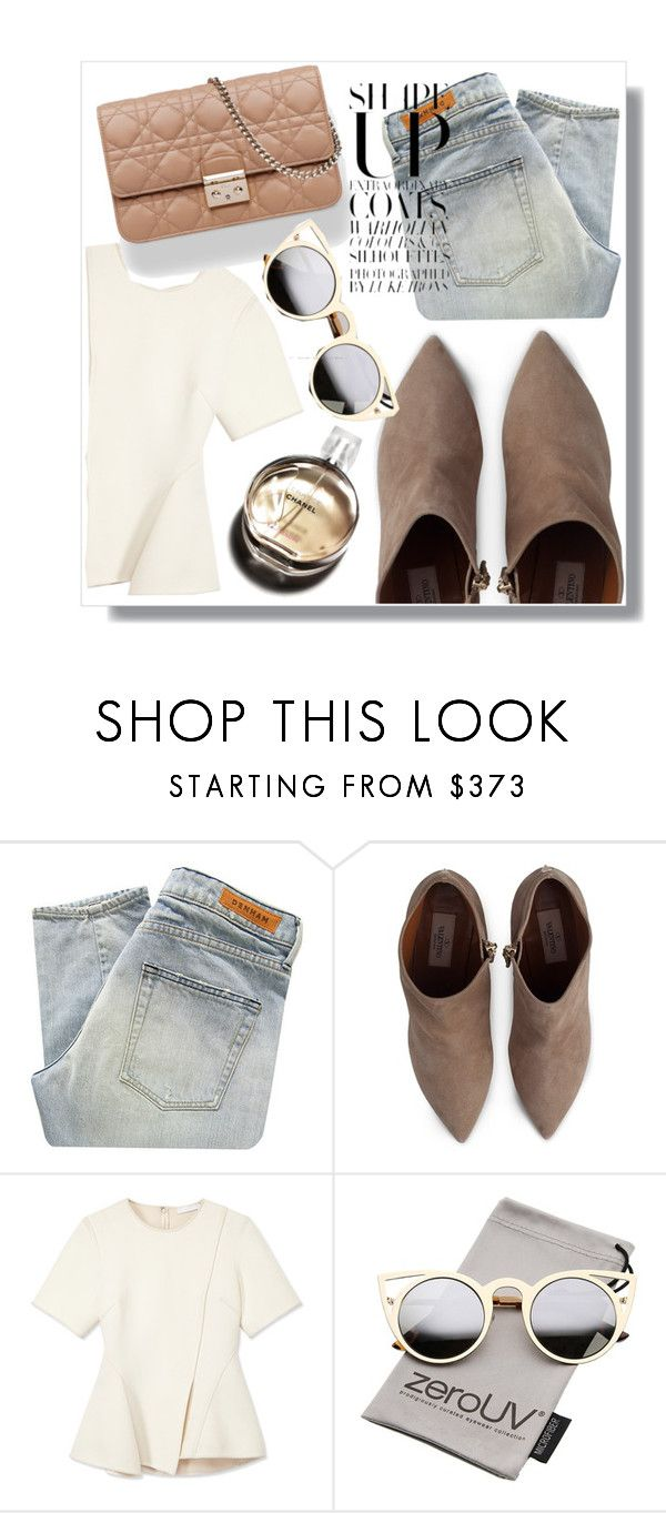 """◇SHAPE OF NUDE◇"" by tamsy13 ❤ liked on Polyvore featuring Denham, Valentino, Alexander Wang, Christian Dior, Chanel, ZeroUV, chic and nude"