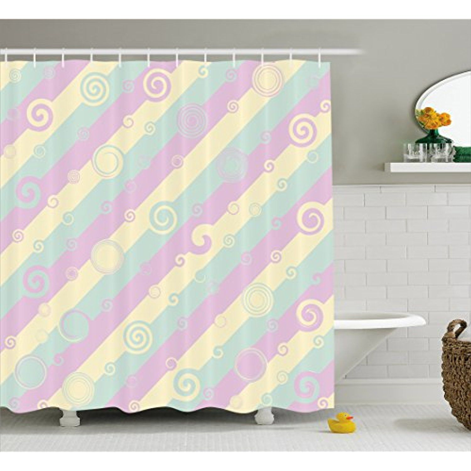 Striped Shower Curtain by Lunarable Diagonal Lines with Curls and