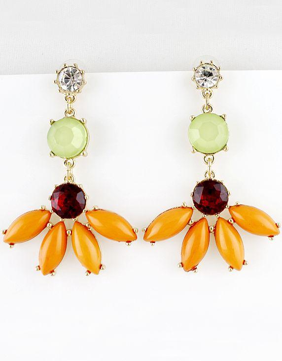 34f20f818177 Pendientes perlas dorado piedras naranja y verde EUR€5.49