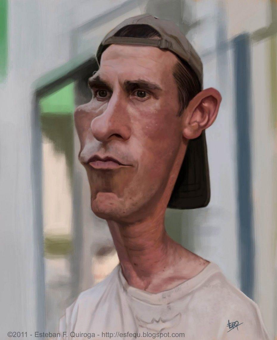 Caricatura de Christian Bale en The Fighter.