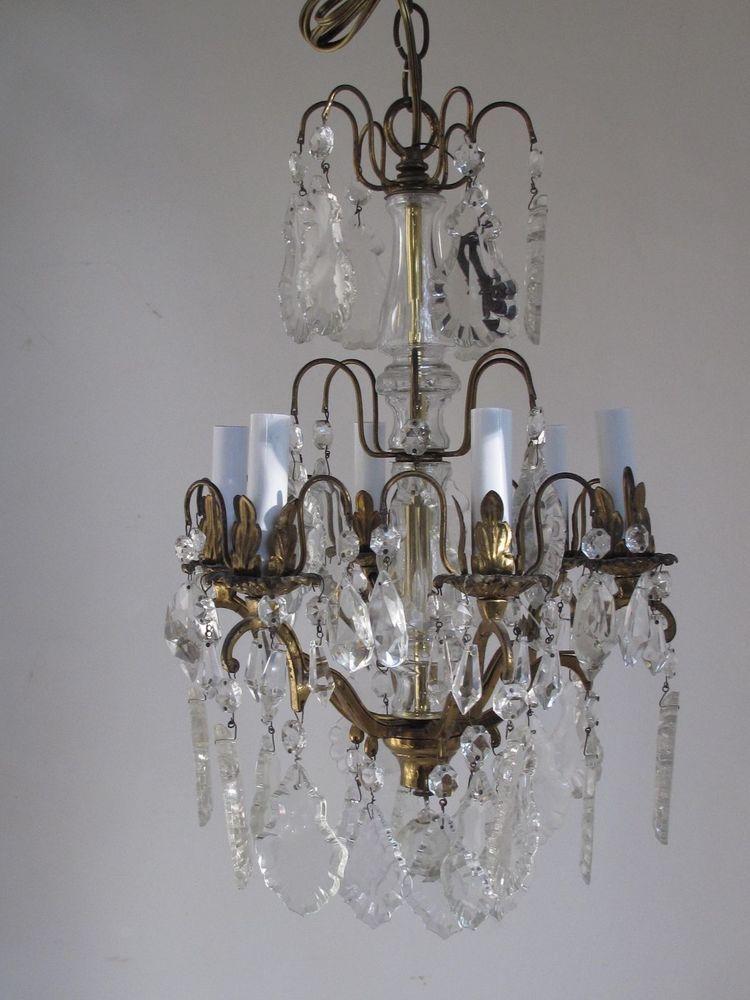 Vintage Crystal Chandelier 6 Light New Wiring Ebay Vintage
