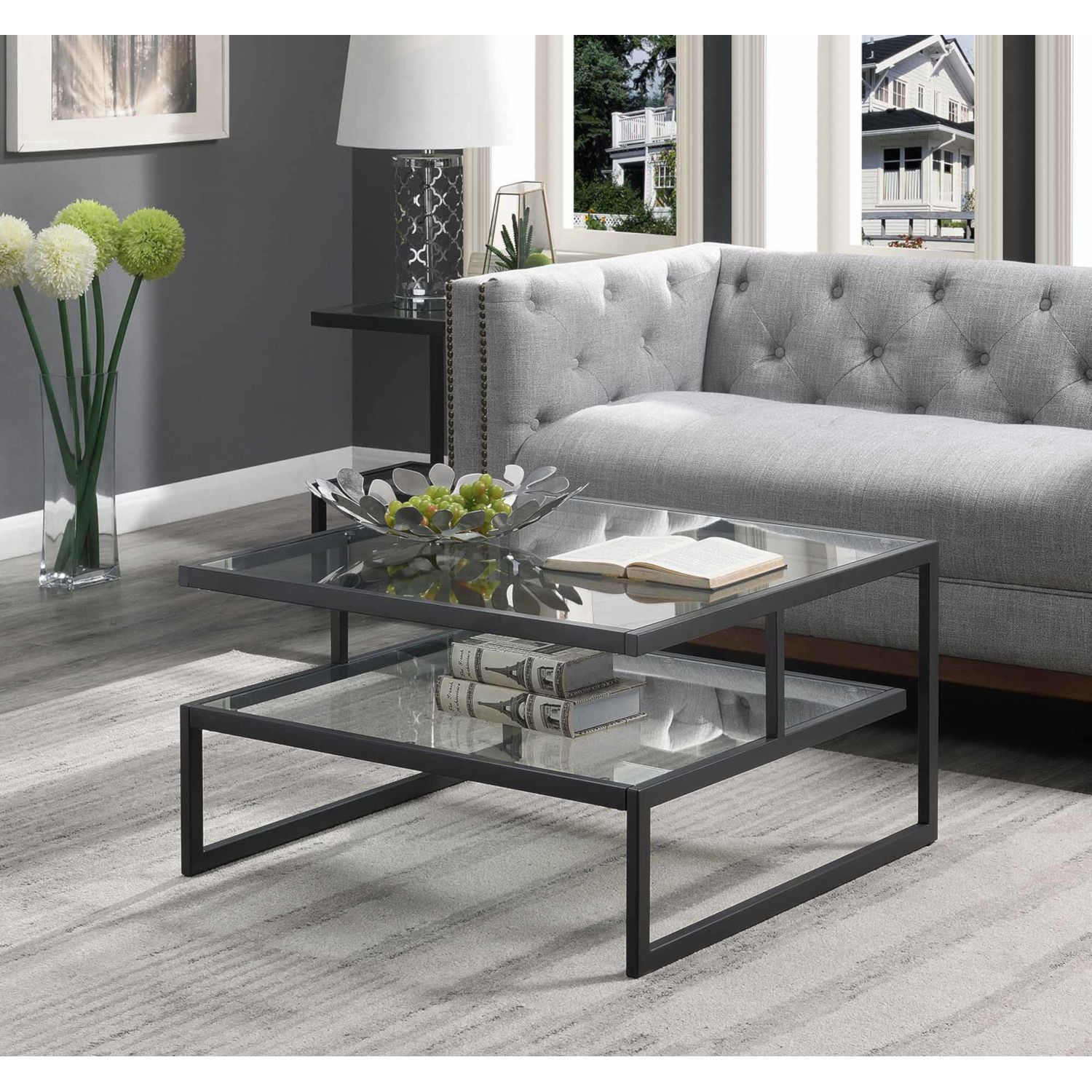 Convenience Concepts Royal Crest Charcoal Gray Coffee Table With Clear Glass 133182glcgy Bellacor In 2021 Coffee Table Glass Table Living Room Convenience Concepts [ 1500 x 1500 Pixel ]