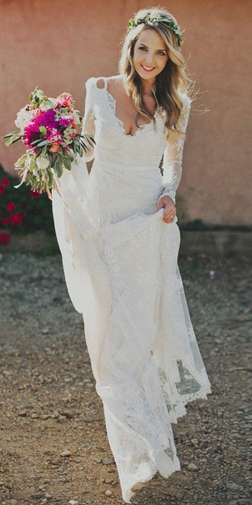 Honest A-Line Long Sleeve Lace Backless Wedding Dresses, FC1735