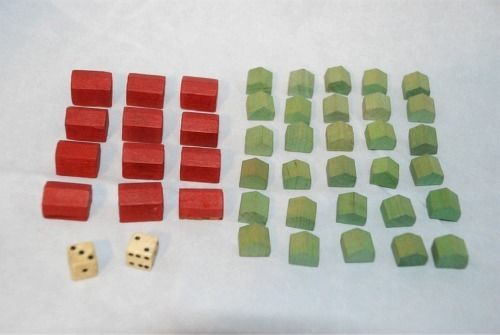Vintage Monopoly Game Replacement Pieces Wooden Green Hotels Red