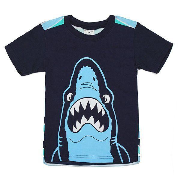 Maven Lovely Shark Baby Children Boy Cotton Short Sleeve T-shirt Top