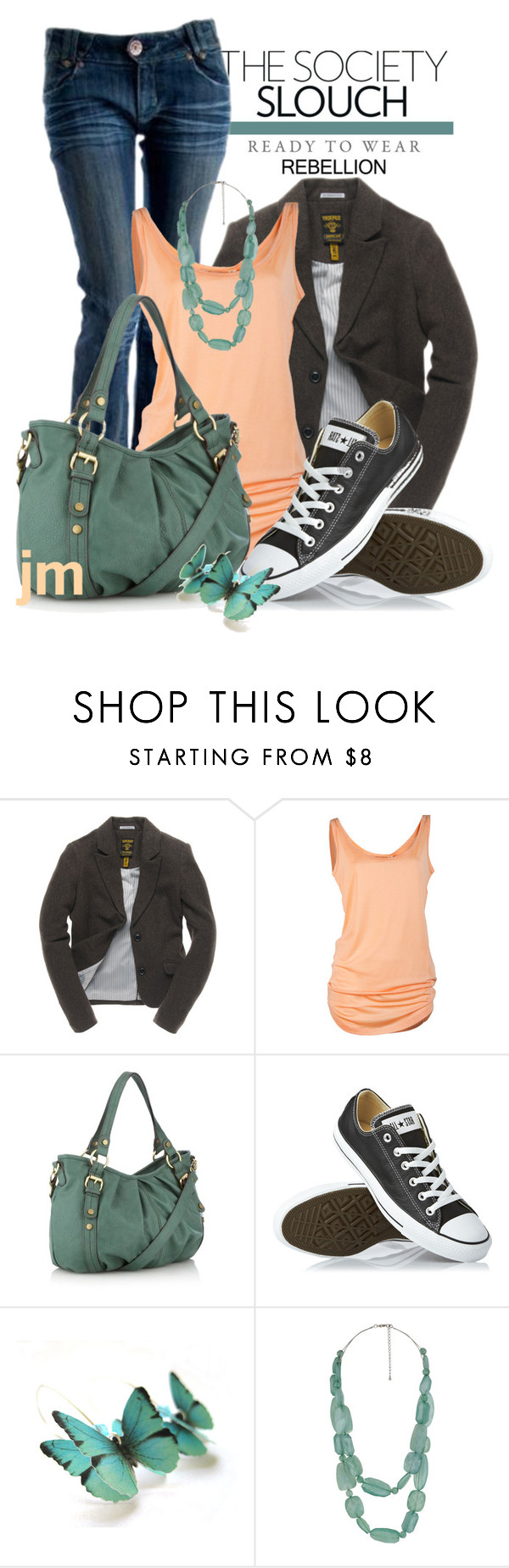 """Slouch"" by jenniemitchell ❤ liked on Polyvore featuring Superdry, The Collection, Converse, Forever 21 and GINTA"