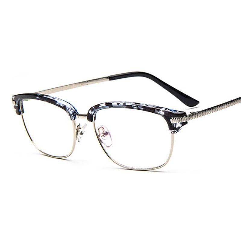New Retro Metal Glasses Frame Striped Plain Mirror Round Men Half ...