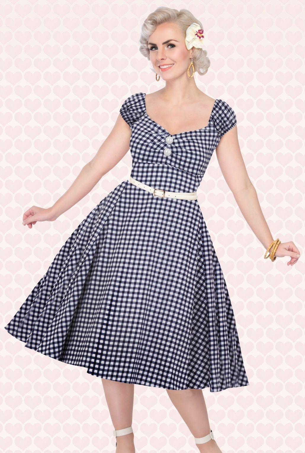 ef6aa9ed135 50s Dolores Doll Gingham Dress in Navy and White | Vintage 1950s ...