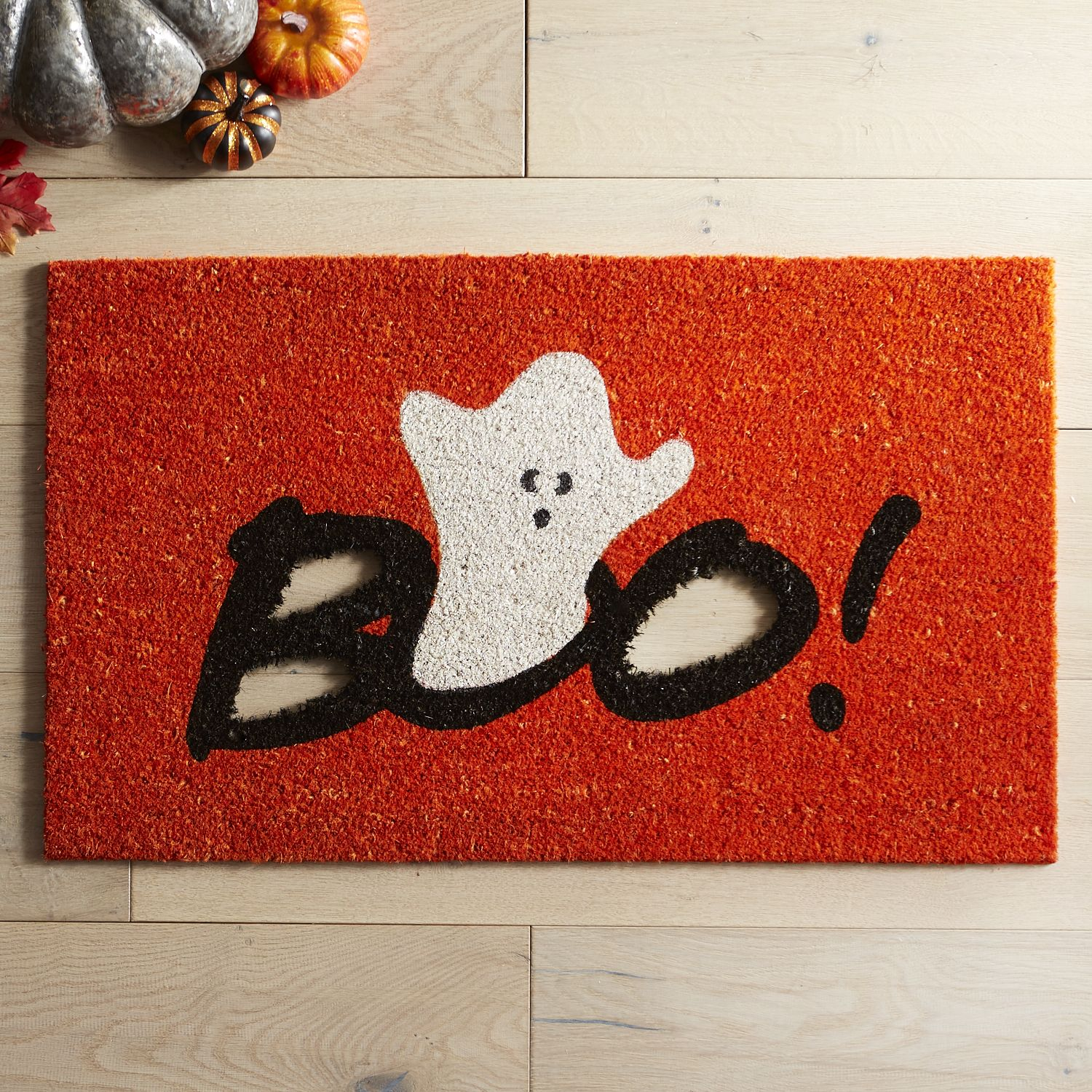 Enter if you dare. Crafted of natural coir with foam backing, our spooktacular letter-cutout doormat lets guests know as soon as they arrive that you're in the Halloween spirit.