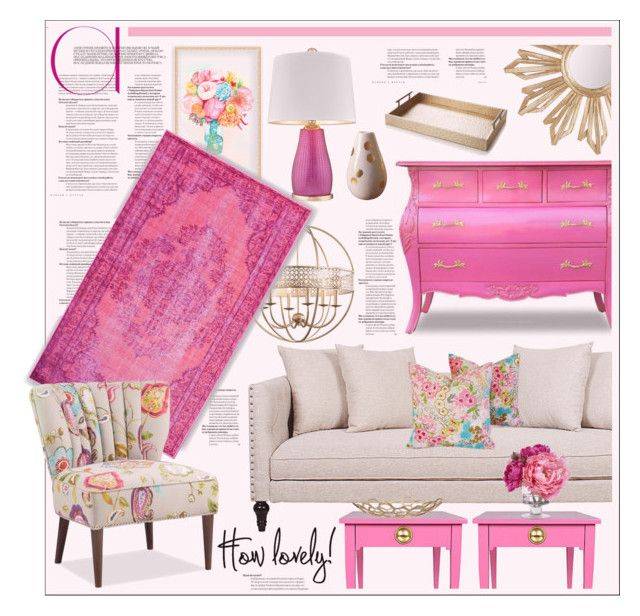 Lively & Lovely Pink & Gold Living Room Decor   Gold and Polyvore